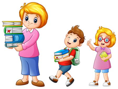 Cartoon weiblich mit Schuljungen tragen mit einem Stapel Bücher Standard-Bild - 81552998