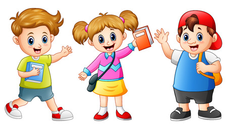 wave hello: Happy school kids cartoon Stock Photo