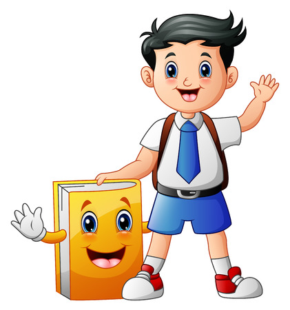hi back: A cute boy in a school uniform with book cartoon character Stock Photo