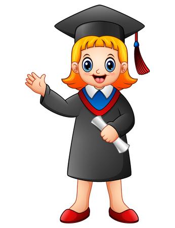 Cartoon graduation girl Stock Photo