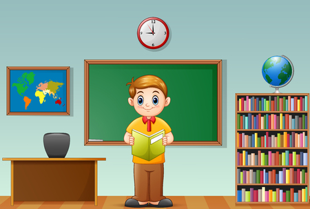 storybook: Vector illustration of School boy reading a book in classroom Illustration