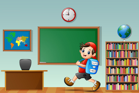 Vector illustration of Cartoon school boy in a classroom Çizim