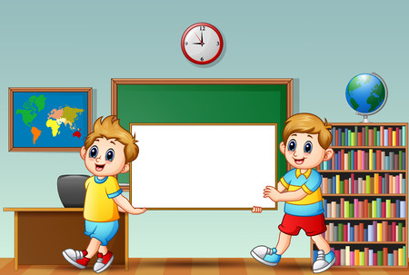 Illustration of schoolboy holding chalkboard in a classroom Illustration