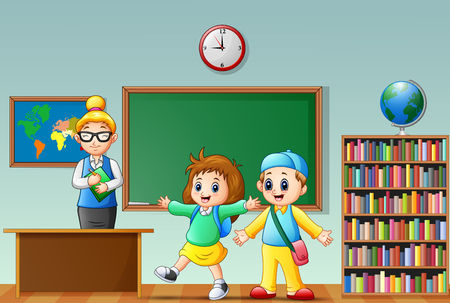 schoolkids: Illustration of happy school kids with female teacher in a classroom Illustration