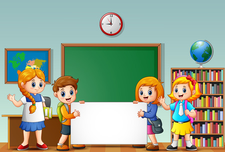 Vector illustration of Cartoon school kids with blank sign in a classroom