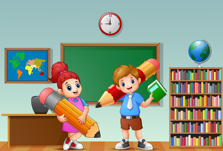 Vector illustration of Cartoon kids holding a pencil in a classroom