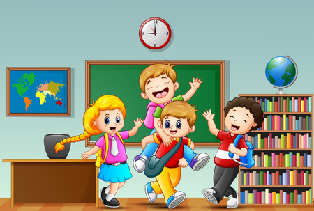 Happy childrens cartoon in a classroom