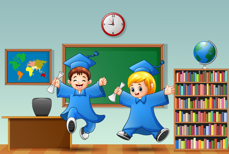 Cartoon boy and girl graduation in a classroom Stock Photo