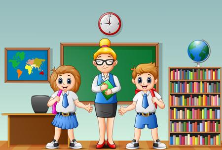 Cartoon female teacher and students in school uniform at classroom