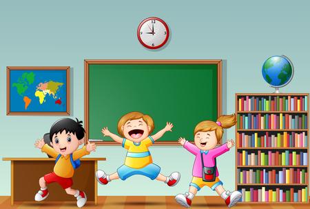 Happy school kids cartoon jumping in a classroom