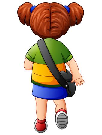 backview: Vector illustration of Cute school girl go to school Illustration