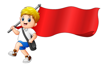 young schoolchild: Vector illustration of Cartoon boy holding red flag Illustration