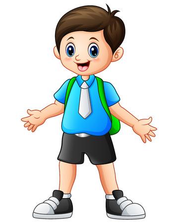 wave hello: Vector illustration of A Cute boy cartoon waving Illustration