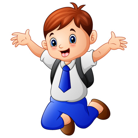 Vector illustration of A cute boy in a school uniform jumping