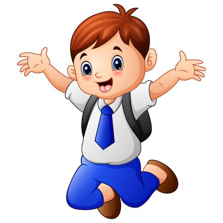 Vector illustratie van een schattige jongen in een school uniform springen