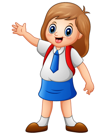 Ilustración vectorial de una linda chica en un uniforme escolar Foto de archivo - 81812916