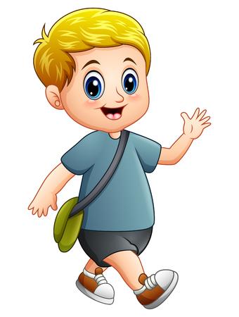 wave hello: Vector illustration of Cute boy cartoon walking