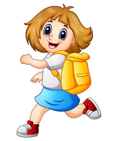 Gelukkig meisje cartoon met rugzak
