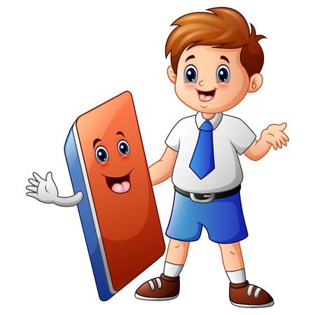 niño parado: Un colegial con dibujos animados borrador Foto de archivo