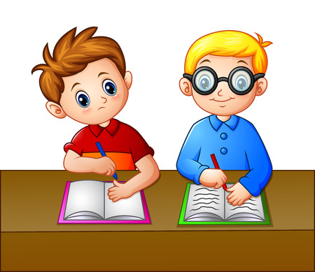 Vector Illustration eines Studenten, der über dem Notizbuch seiner Sitzkollegin schaut