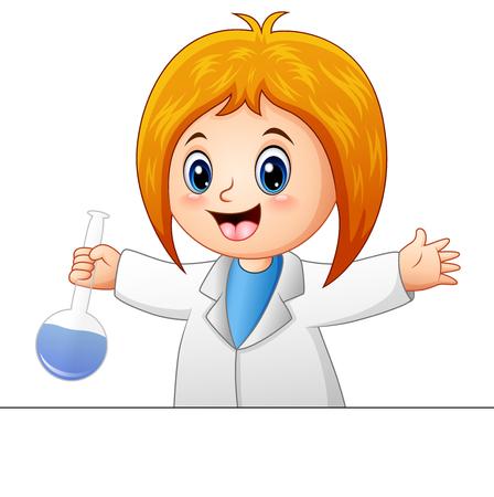 Vector illustration of Cartoon scientists girl Illustration