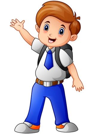 Illustration vectorielle d'écolier heureux présentant isolé sur fond blanc