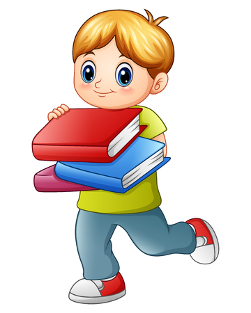hi back: Vector illustration of Cute boy holding book isolated on white backgroud Illustration