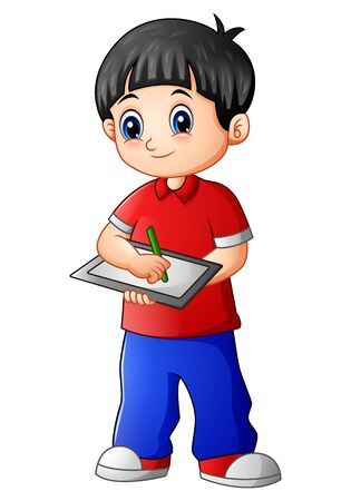 Cute boy standing with holding notebook