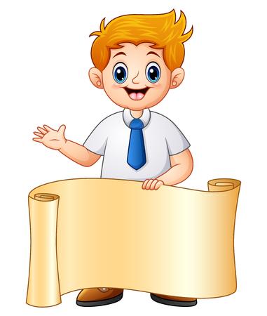Schoolboy in school uniform with paper roll