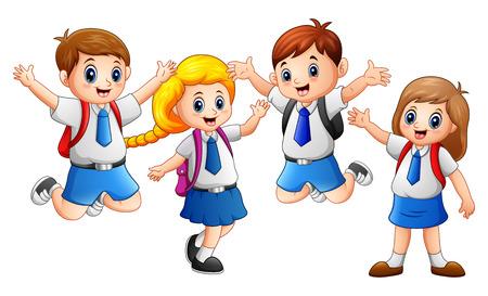 Vector illustration of Happy kid wearing uniform going to school