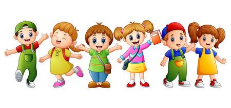 Vector illustration of Happy kid going to school