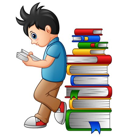 Vector illustration of Young boy reading with leaning in the stack of book
