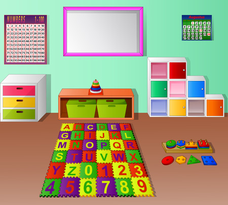 Preschool kindergarten classroom cartoon 版權商用圖片