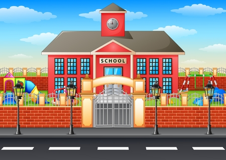 institute: Vector illustration of School building and playground area