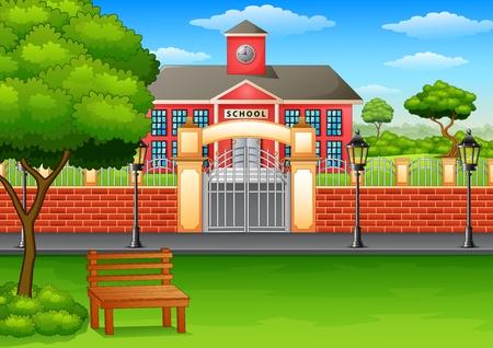 Vector illustratie van schoolgebouw en groen gazon