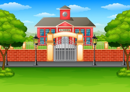 Vector illustration of School building and green lawn 일러스트