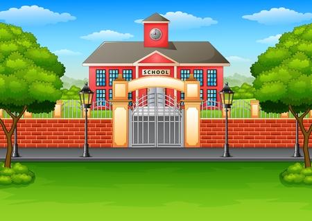Vector illustratie van schoolgebouw en groen gazon Vector Illustratie