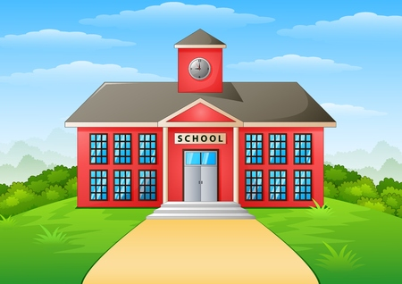 Vector illustration of School building and path
