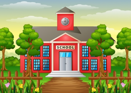 Vector illustration of Cartoon school building with green yard Vettoriali