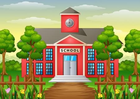 Vector illustration of Cartoon school building with green yard Illustration