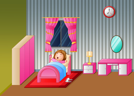 Vector illustration of Cartoon Little girl waking up and yawning Illustration