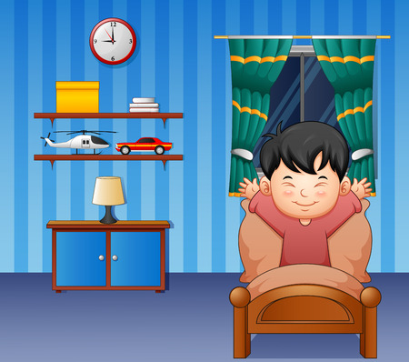 Vector illustration of Cartoon little boy waking up in a bed
