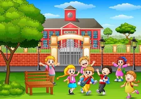 Vector illustration of Happy school children playing in front of school building