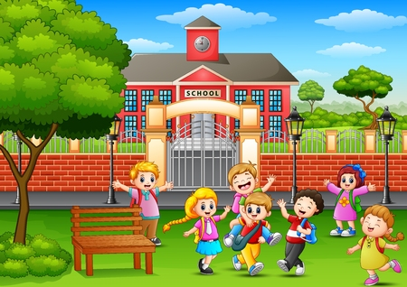 Vector illustration of Happy school children playing in front of school building