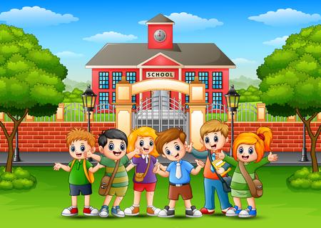 벡터 일러스트 레이 션의 행복 한 학교 아이들 학교 건물의 앞에 서 서 일러스트