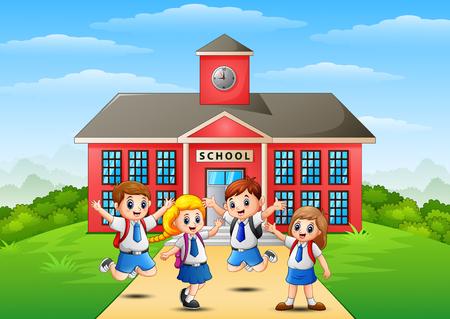 Vector illustration of Happy school children in front of school building