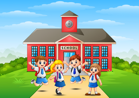 Vector illustration of Happy school children in front of school building