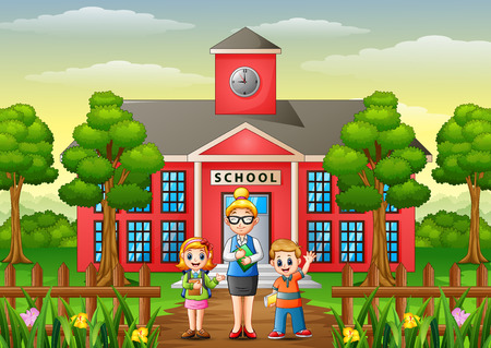 Vector illustration of A students and teacher in front of school building