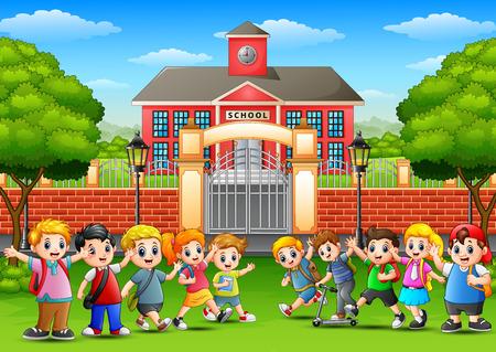Vector illustration of Happy school children in outside the front of school building 일러스트