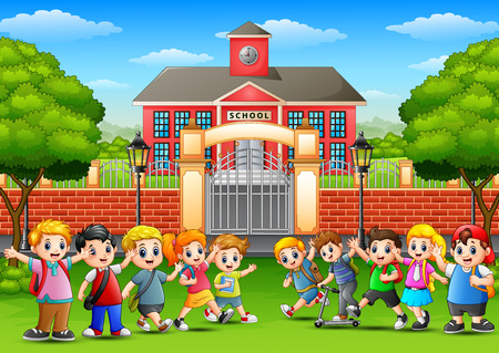 Vector illustration of Happy school children in outside the front of school building Ilustração